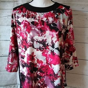 Silky pink and black floral print blouse